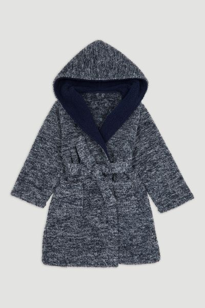 Navy Marl Fleece Robe