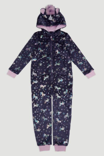 Navy Fleece Unicorn Onesie