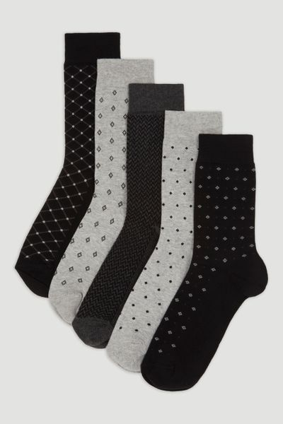 5 Pack Monochrome Socks