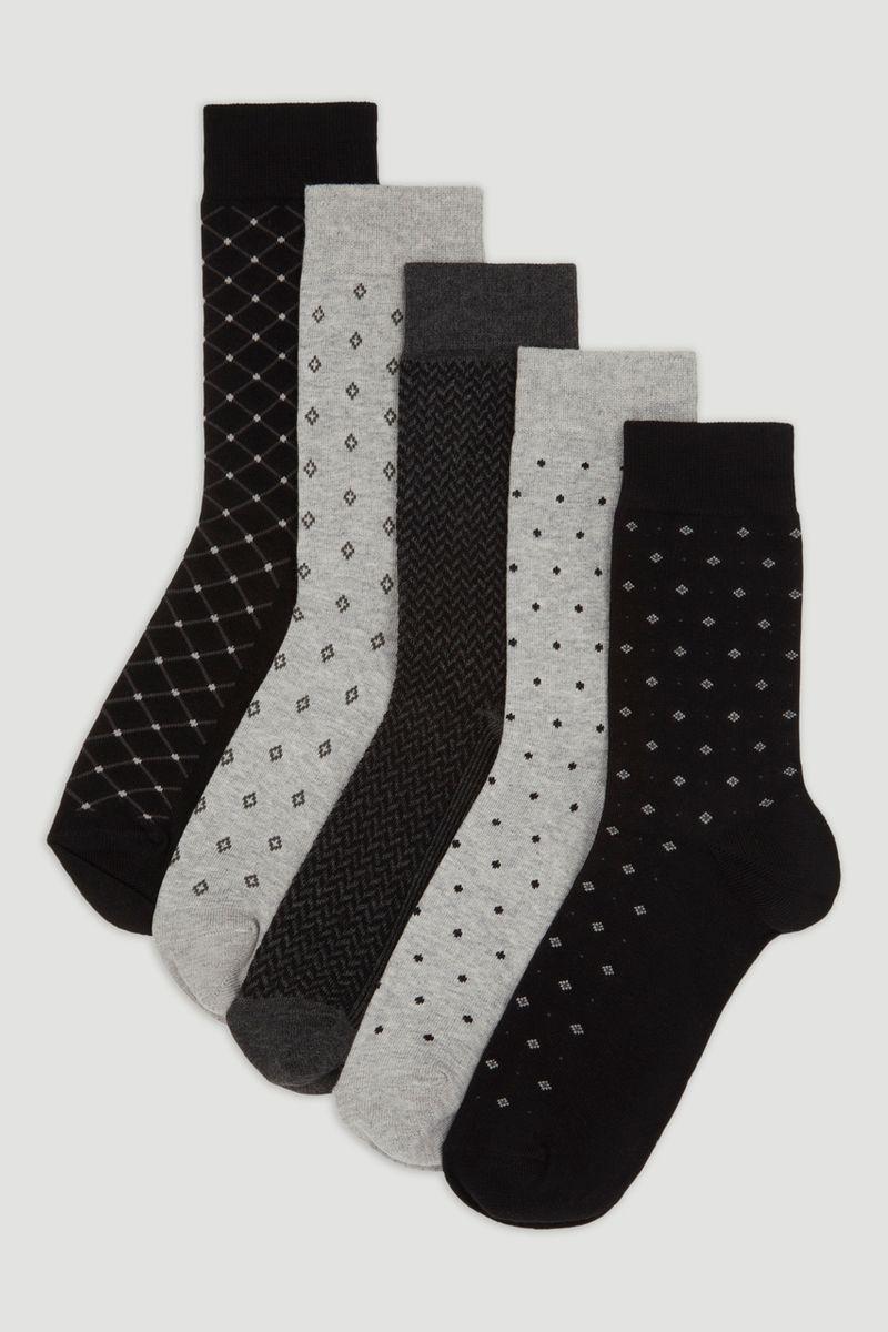5 Pack Monochrome Socks