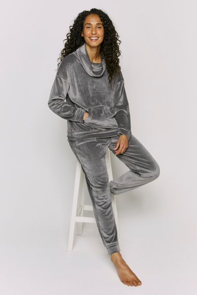 Grey Rib Velour Loungewear Set