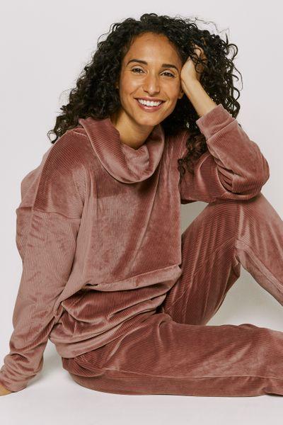 Pink Rib Velour Loungewear Set
