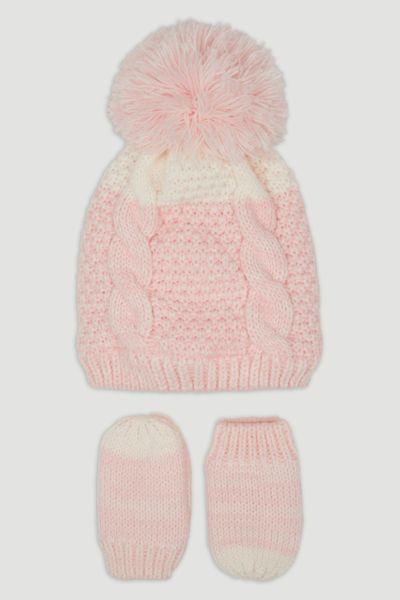Pink Knit Hat & Mittens