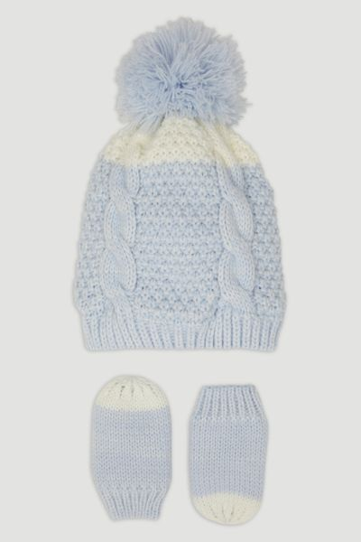 Blue Knit Hat & Mittens