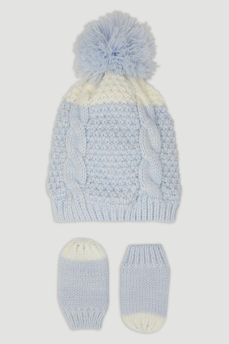 Blue Knit Hat & Mittens