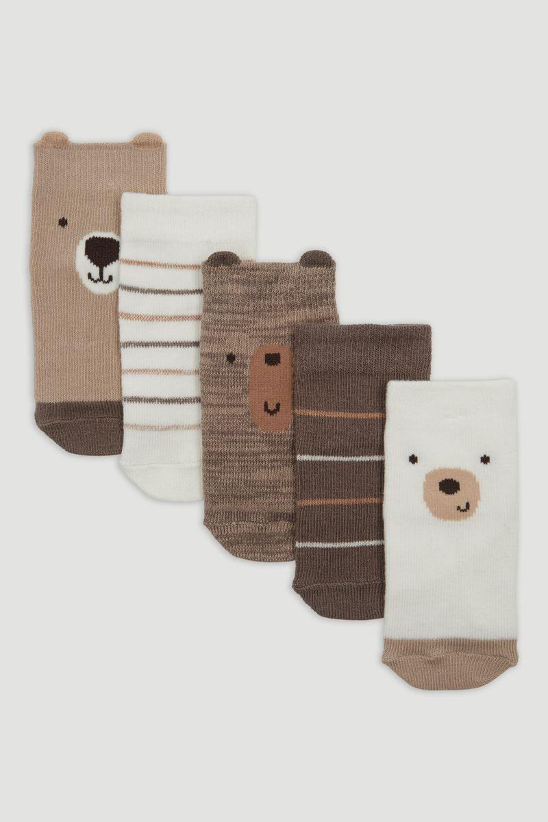5 Pack Brown Marl Bear Socks