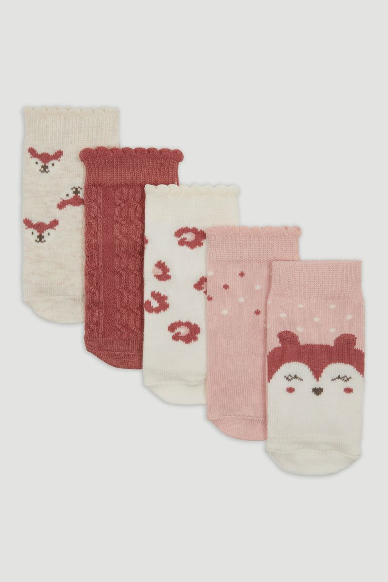 5 Pack Pink Animal Socks