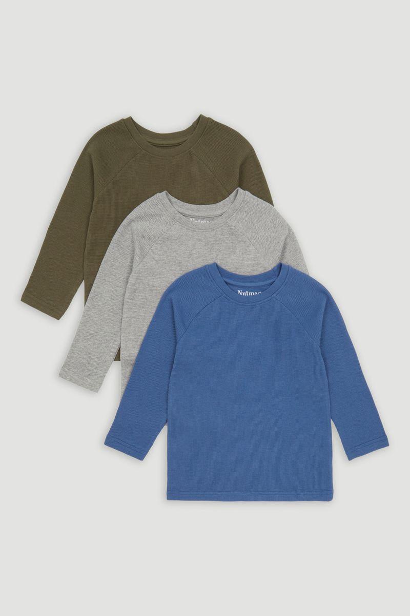 3 Pack Blue Khaki & Grey T-shirts