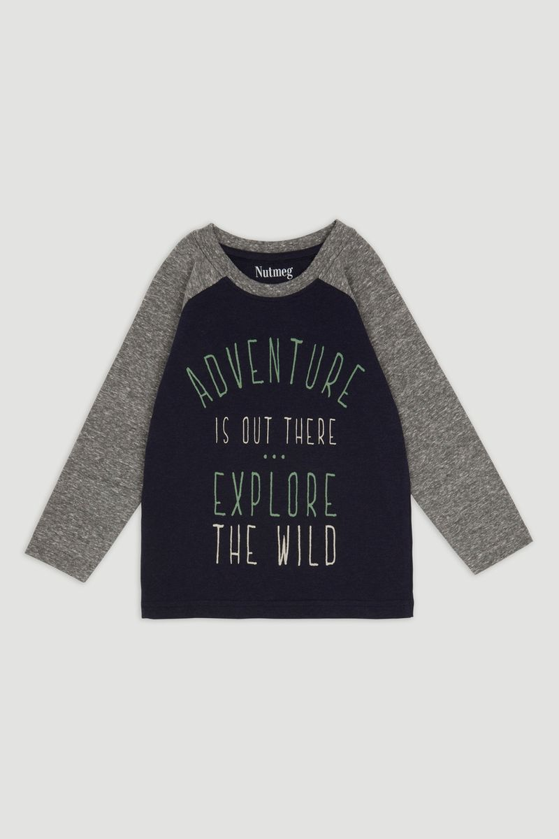 Navy Explore Slogan T-shirt