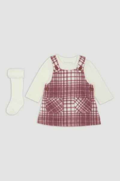 Beige Check Pinafore Dress & Tights