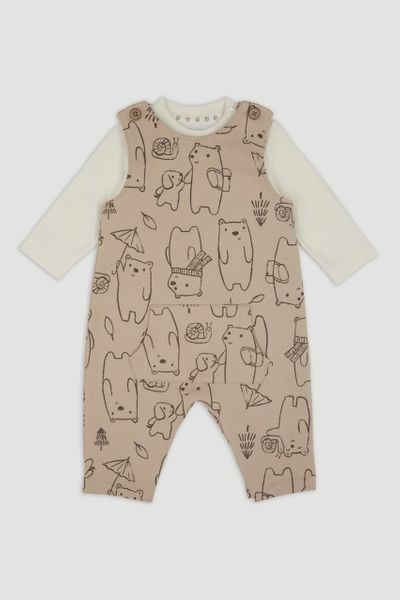 Beige Bear Dungaree Set