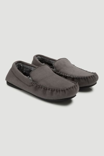 Charcoal Fur Lined Moccasin