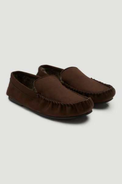 Chocolate Fur Lined Moccasin