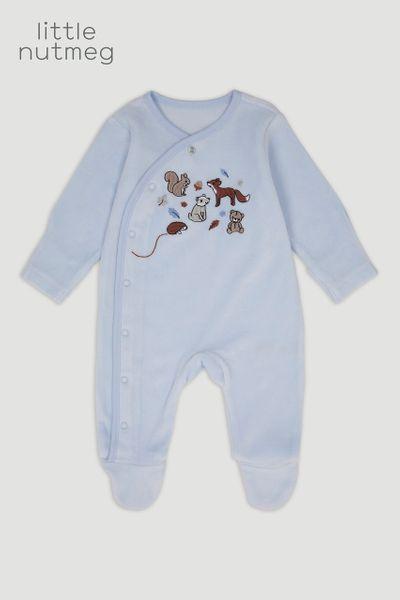 Little Nutmeg Blue Bear Velour Sleepsuit