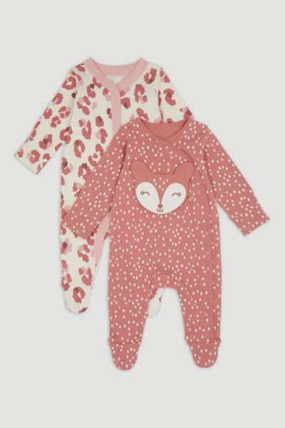 2 Pack Pink Animal Sleepsuits