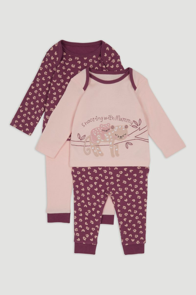 2 Pack Leopard Applique Pyjamas