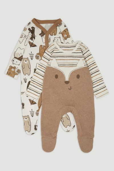 2 Pack Bear sleepsuits
