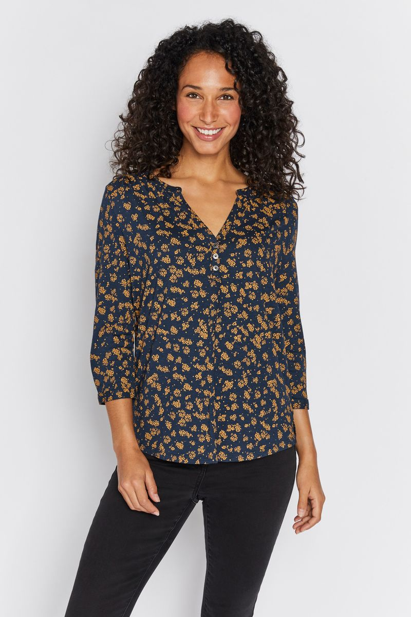 Ditsy Floral Henley Shirt