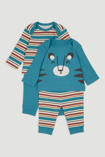 2 Pack Blue Tiger Pyjamas
