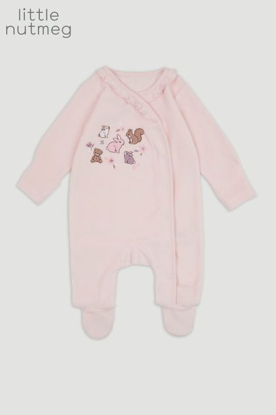 Little Nutmeg Pink Velour sleepsuit