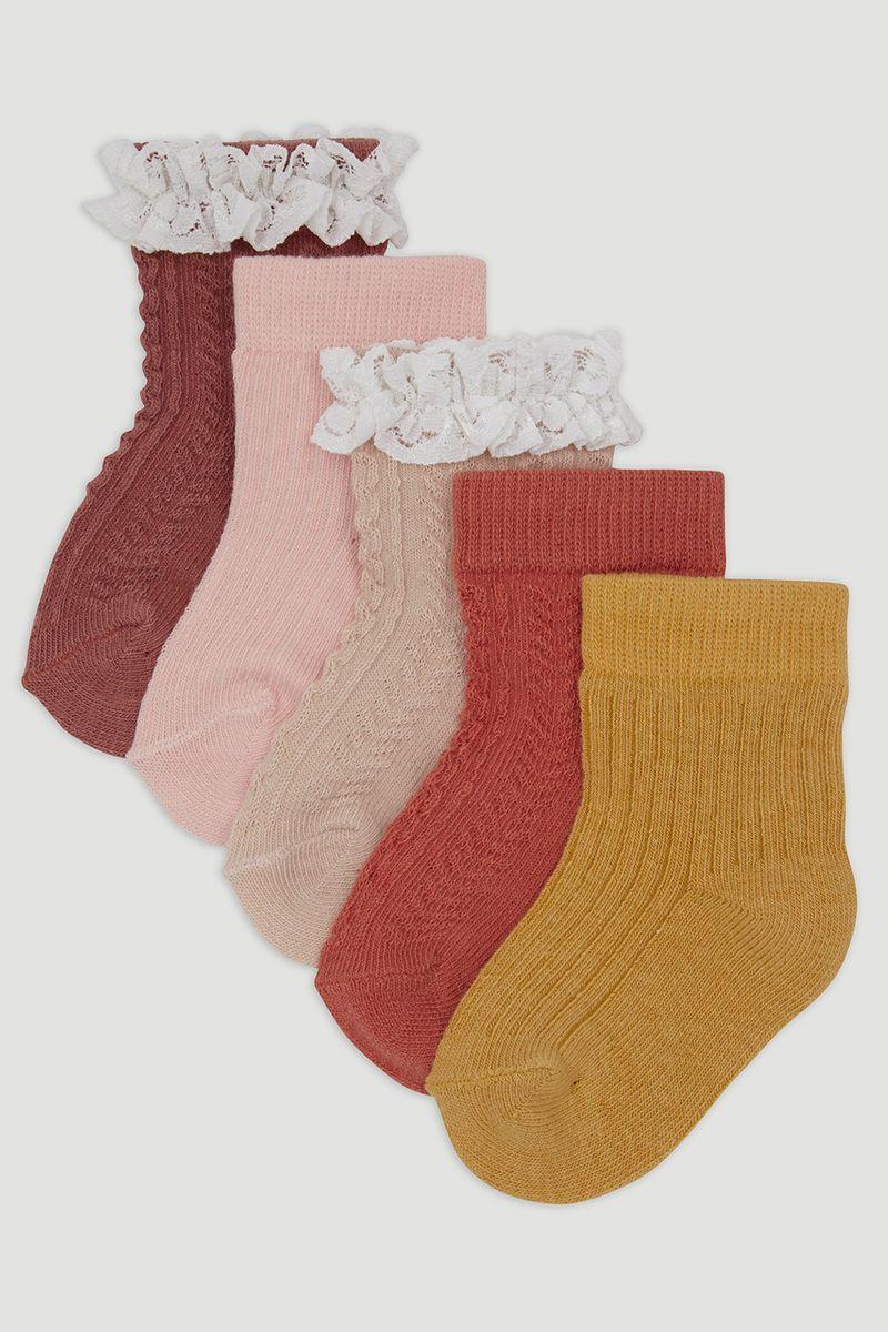 5 Pack Frilly Orange Socks