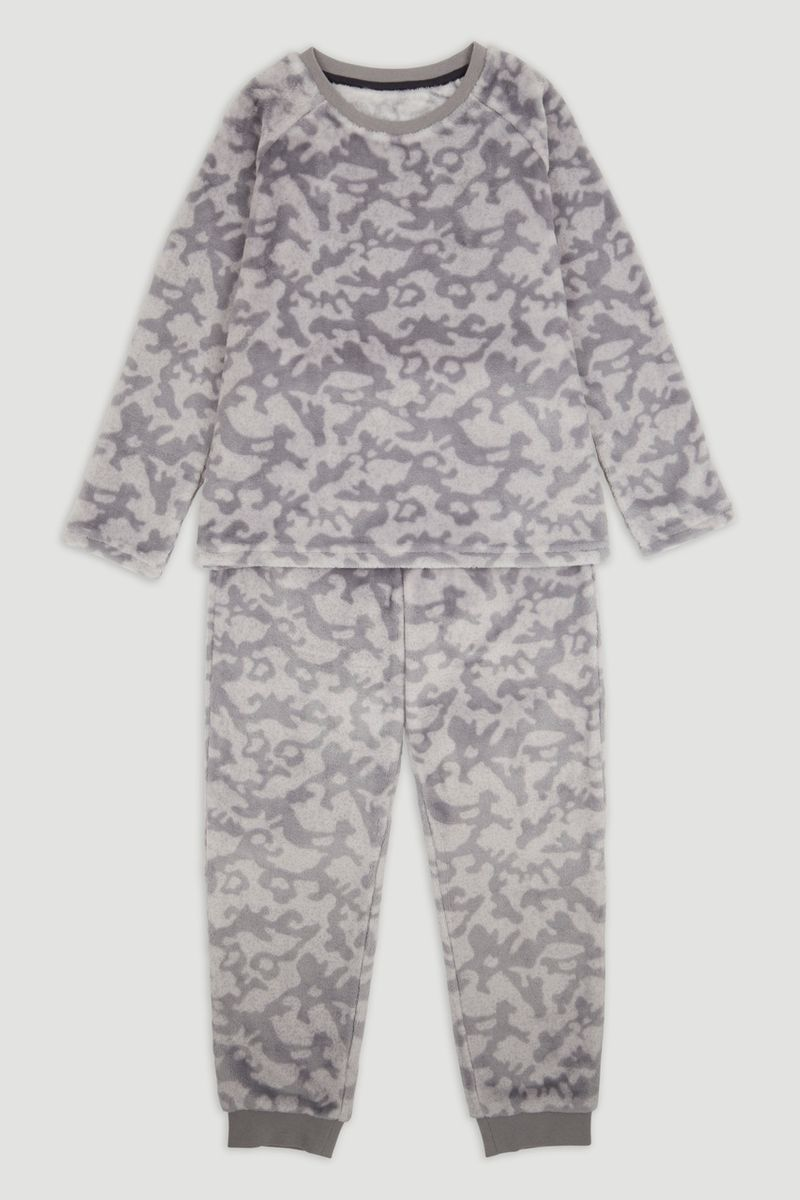 Grey Camo Fleece Pyjamas