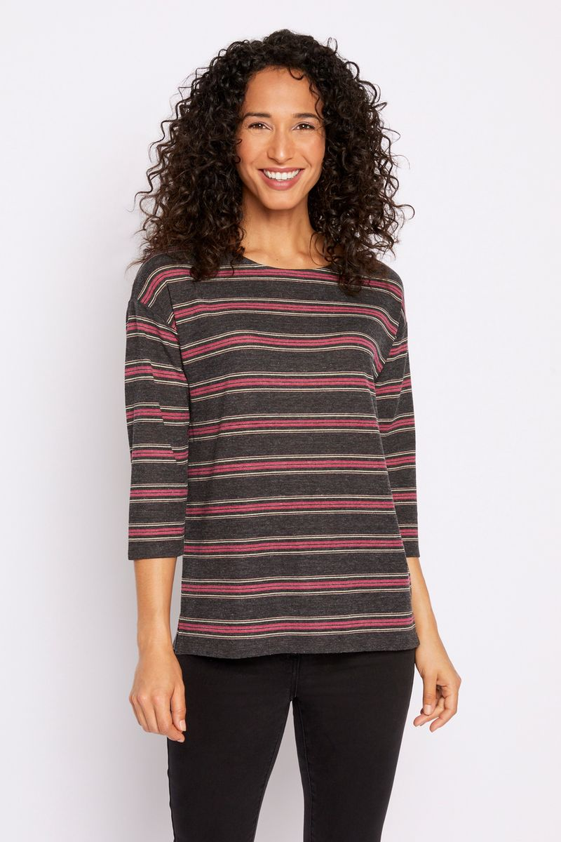 3/4 Sleeve Stripe Loose Fit Top