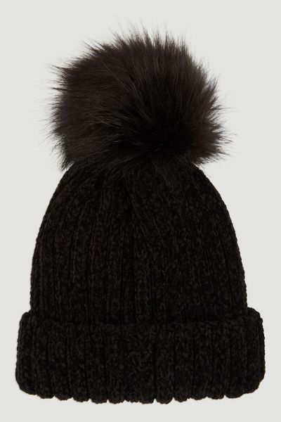 Chenille Rib Black Hat