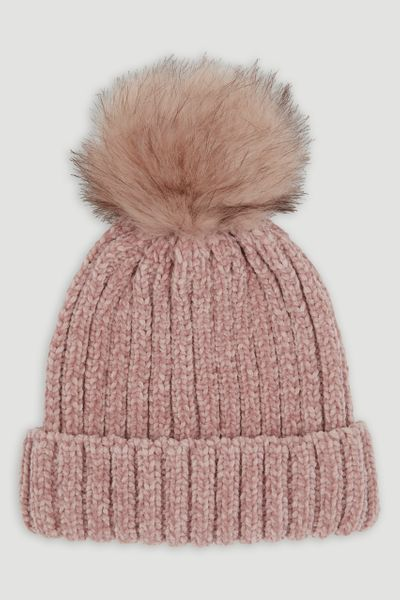 Pink Chenille Ribbed Bobble Hat