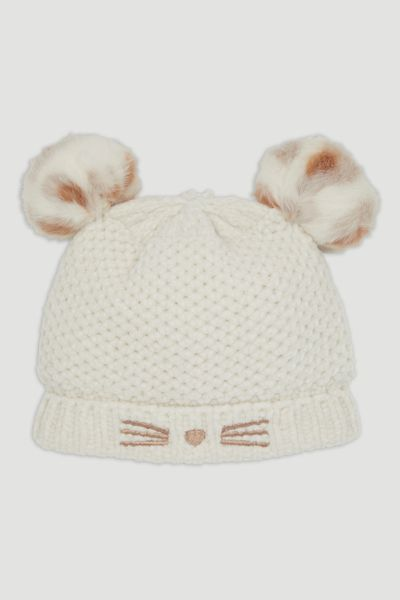 Cream Chenille Pom Pom Hat