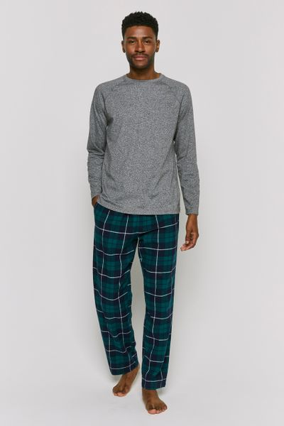 Grey & Check Print Pyjamas