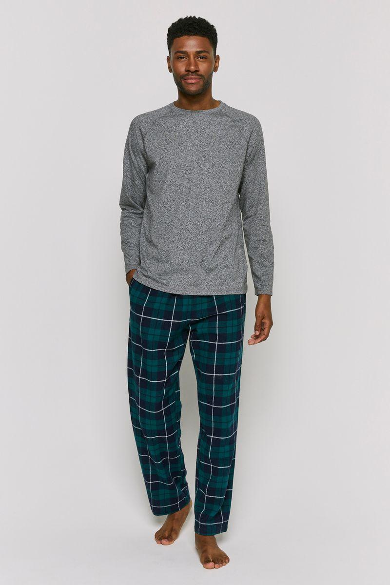 Grey & Check Print Pyjamas