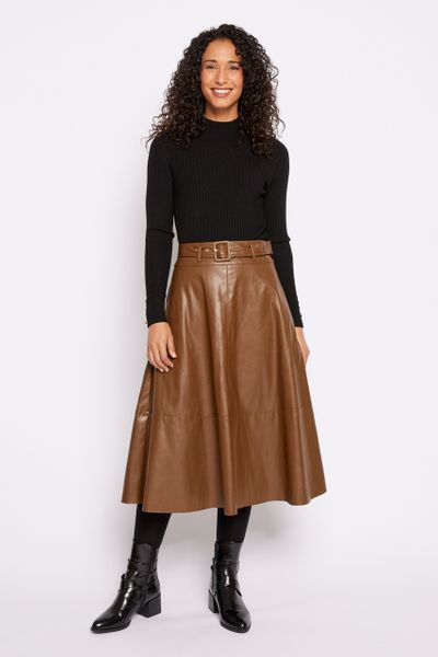 Brown Swing Faux Leather Skirt