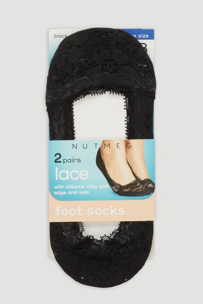 Black 2 Pack Lace Footsies