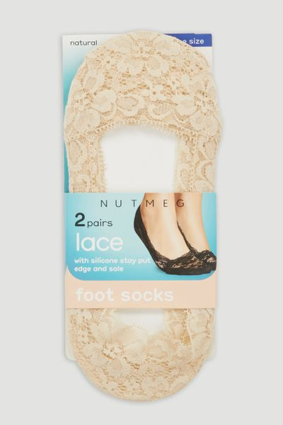 2 Pack Nude Lace Footsie
