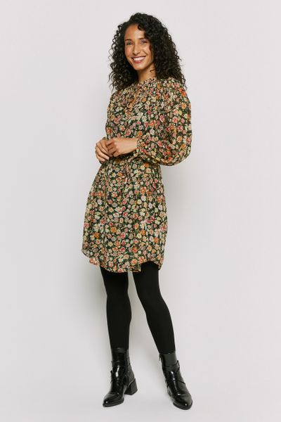 Sheered Floral Smock Dress