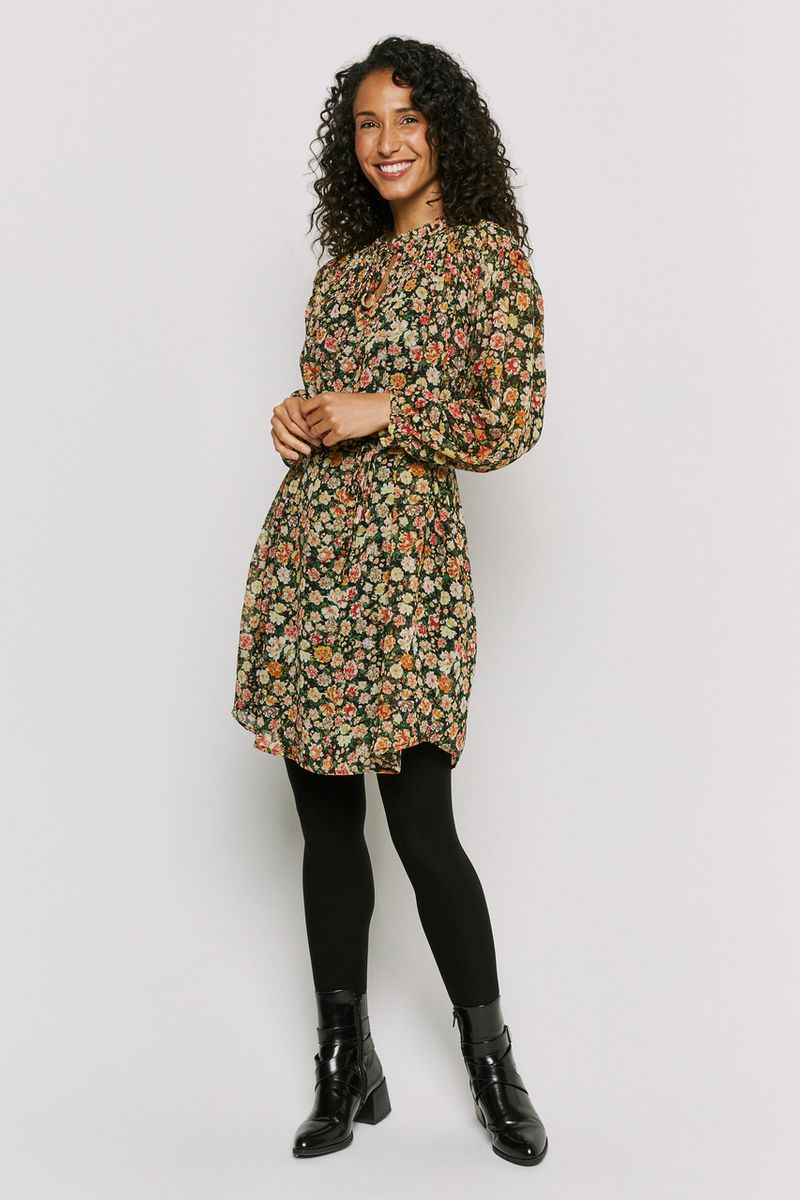 Sheered Floral Smock Dress