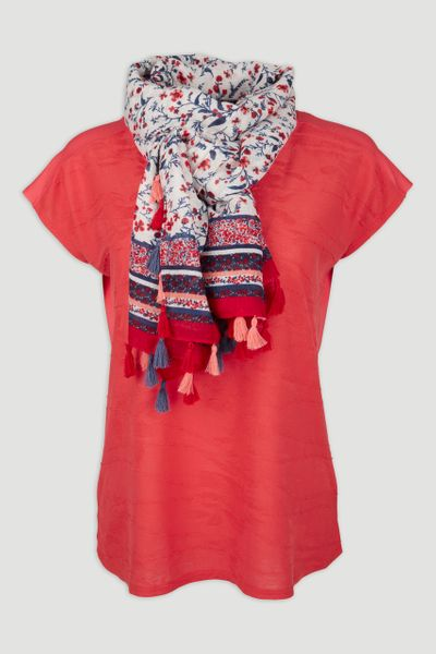 Red Top with Scarf