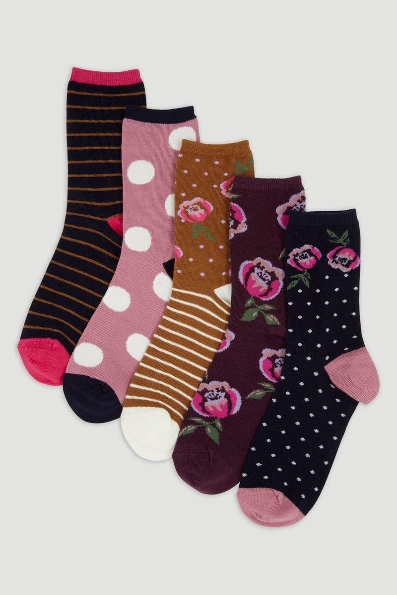 5 Pack Floral Socks