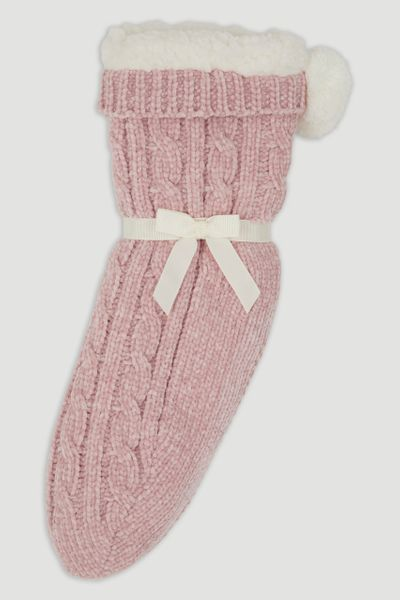 Pink Chenille Lounge Socks