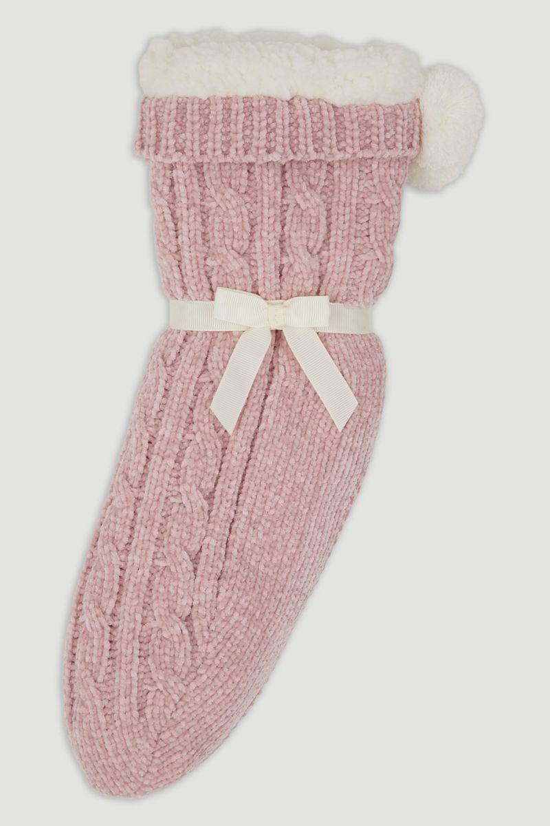 Pink Chenille Lounge Socks