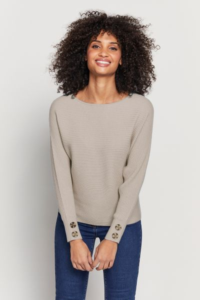 Oatmeal Ribbed Batwing Jumper