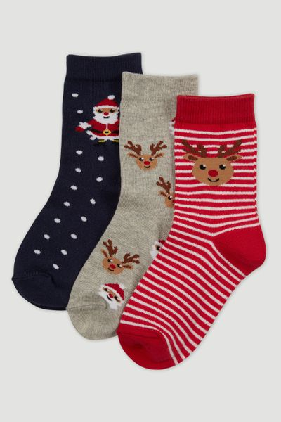 3 Pack Christmas Reindeer Santa Socks