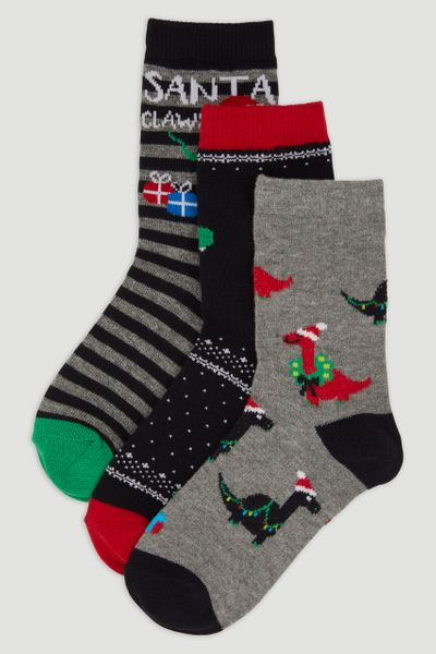 3 Pack Christmas Dino Socks