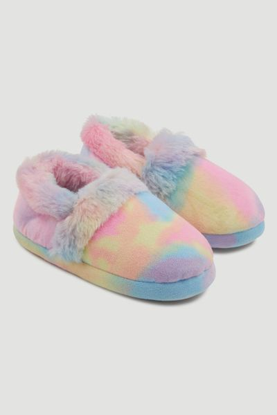 Fur Trim Rainbow Slippers
