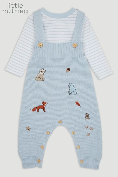 Little Nutmeg Blue Knitted Dungaree set