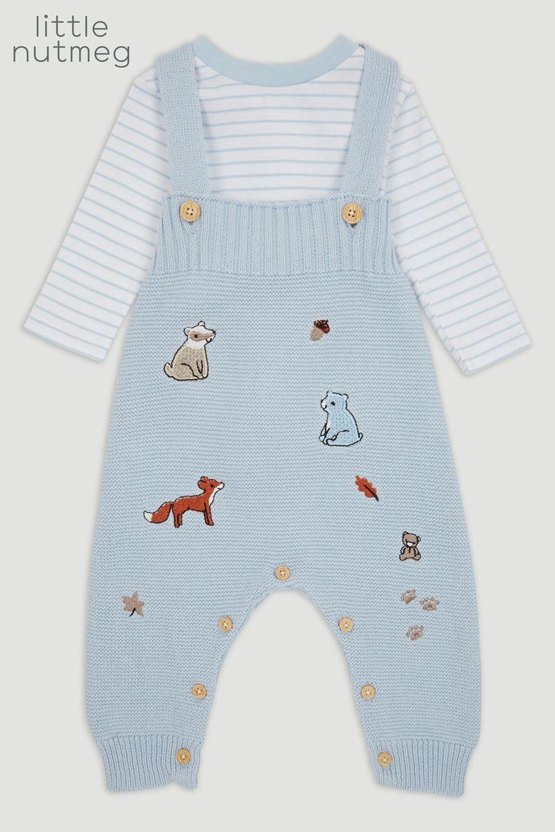 Little Nutmeg Blue Knitted Dungaree set