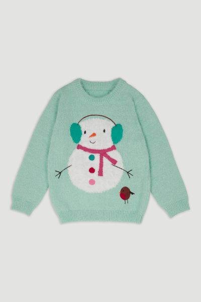 Mint Blue Snowman jumper