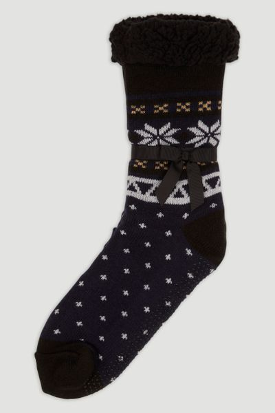 Black Fairisle Lounge Socks
