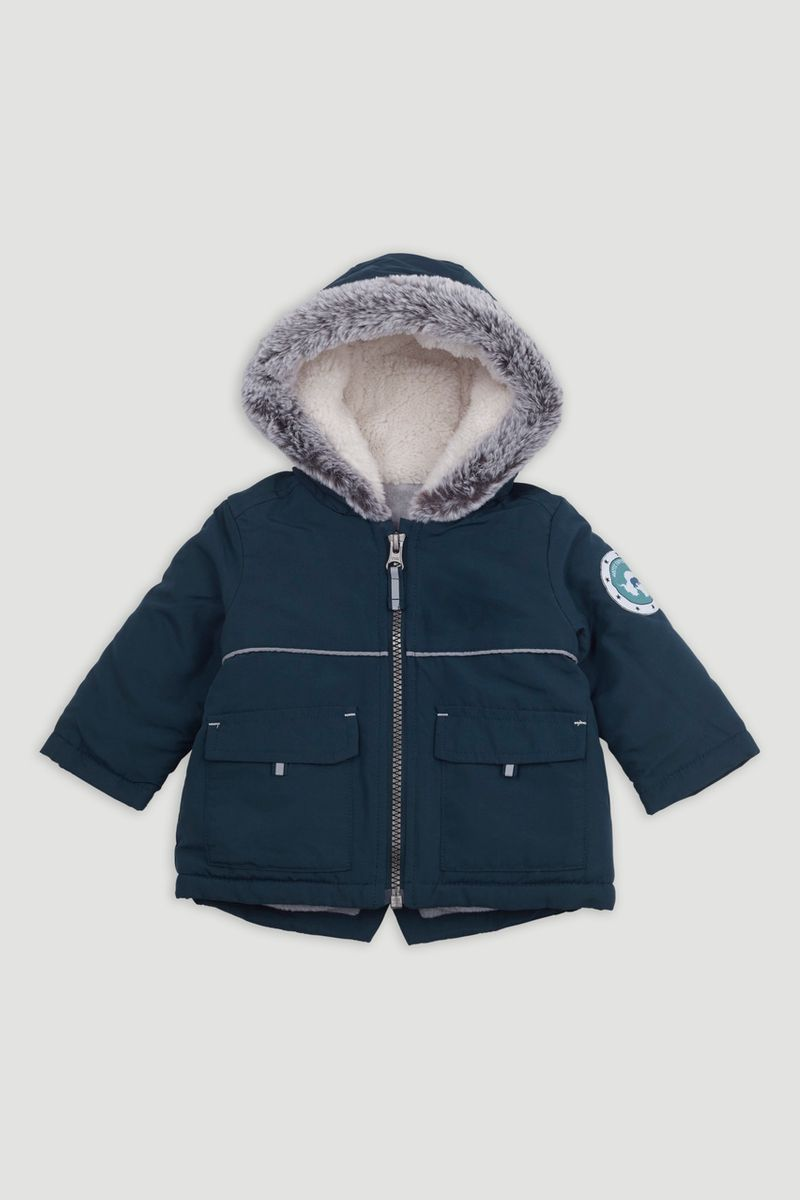 Teal Faux Fur Trim Parka Coat